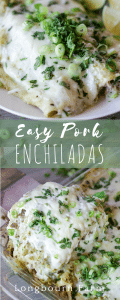 These easy pork enchiladas are quick to put together, packed with flavor and will be a hit with the whole family!