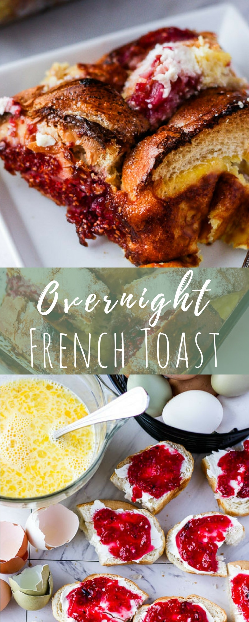 Overnight French Toast Bake is easy to put together, a great way to use up leftover bread, and a decadent breakfast for special occasions. Packed with flavor and layers of gooey bread, jam, and cream cheese this french toast bake is going to be a family favorite!