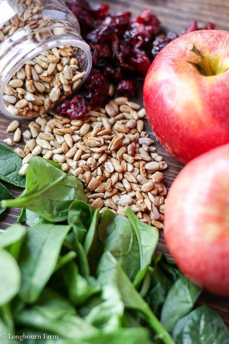 Loose sunflower seeds, baby spinach leaves, dried cranberries, and apples on a board.