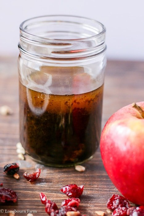 Balsamic vinaigrette for the winter salad in a mason jar.