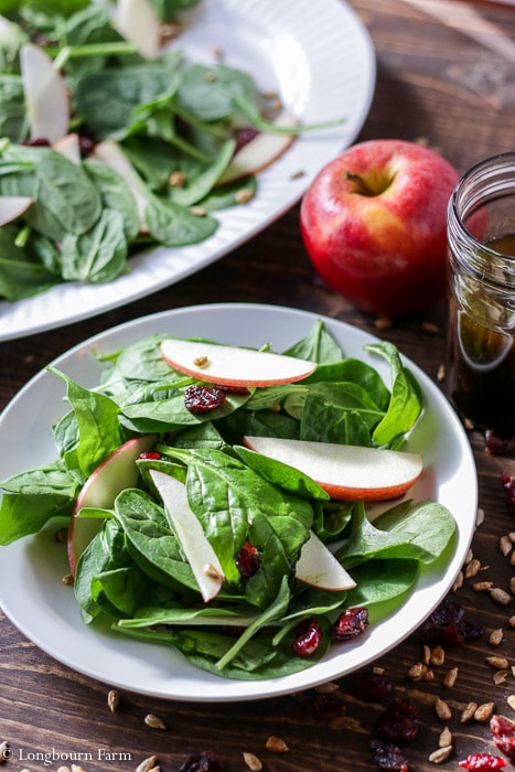Undressed spinach and apple winter salad.