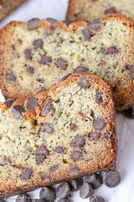 Close-up of a slice of chocolate chip banana bread.