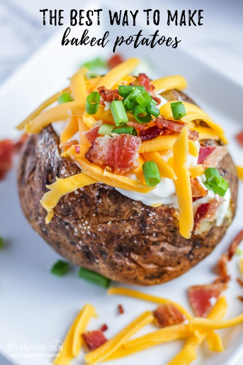 The best baked potatoes are EASY to make! Use this simple recipe to get perfect baked potatoes every single time with minimal effort. Serve them simply, or load them up with your favorite toppings! #bakedpotato #bakingpotatoes #baking #potatoes #ovenroasted #loadedpotato #loadedbakedpotato #ovenbakedpotatoes #veggies #sidedish #gardenfood #plants