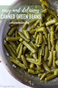 This canned green bean recipe is an easy and delicious way to use those green beans in your pantry! A few ingredients make a veggie the family will love! #greenbeans #cannedgreanbeans #beansandbacon #baconbeans #green #beans #cannedfood #goodfood #vegetable #sidedish #veggies