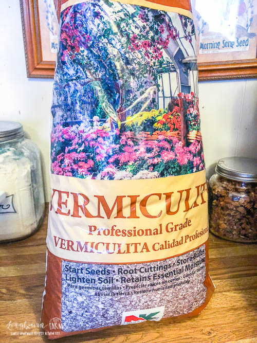 Bag of Vermiculite for potting seedlings.