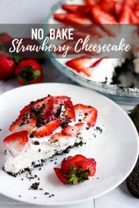 No Bake Strawberry Cheesecake is delicious and beyond amazing with a delicious Oreo Crust. It's so simple to make, perfect for any holiday or just a fancy treat. Better yet, make the No Bake Strawberry Cheesecake a day in advance so it's ready when you need it! #oreo #strawberry #creamcheese #cheesecake #oreocheesecake #strawberrycheesecake #nobakecheesecake #nobakedessert #easydessert #dessert