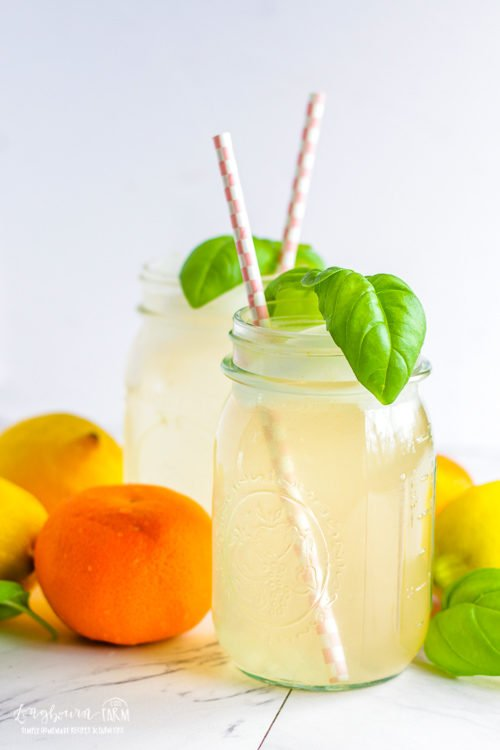 Side view of a glass of citrus lemonade topped with a basil sprig and a straw.