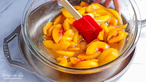 Amount of liquid in peaches for easy peach cobbler.