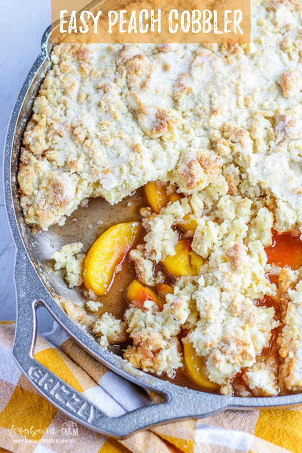 Easy peach cobbler is a family favorite! Flavorful and lightly spiced peaches topped with the softest biscuit crust ever. So simple to bake up in a GRIZZLY Cast Iron skillet, you'll be asked for the recipe again and again! #peach #peaches #cobbler #peachcobbler #fruitcobbler #peachdessert #dessert #baking #biscuit #shortcake #easydessert #simpledessert #quickdessert
