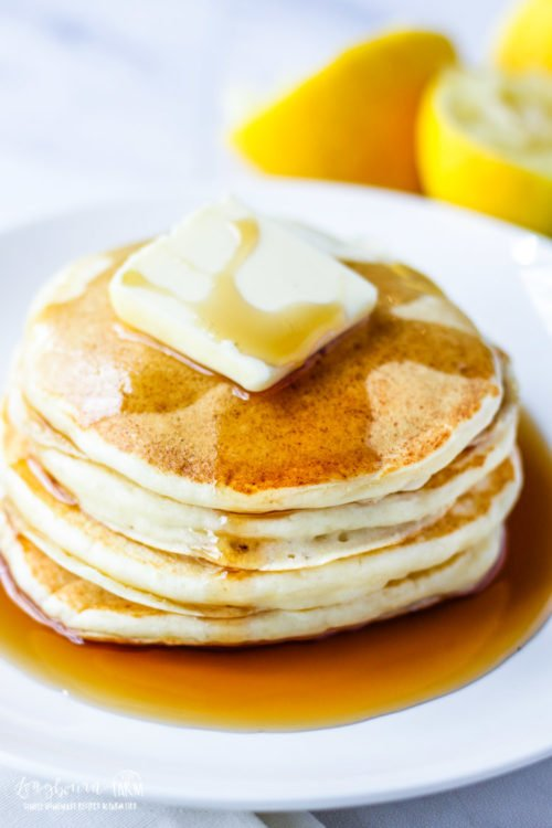 Lemon ricotta pancakes are easy to make and have a great flavor and texture. They are extra soft and fluffy with a hint of lemon that sends them over the top! Simply the best. #pancakes #lemon #ricotta #lemonricotta #lemonricottapancakes #pancake #homemadepancakes #homemadepancake #baking #breakfast #breakfastfood #goodbreakfast