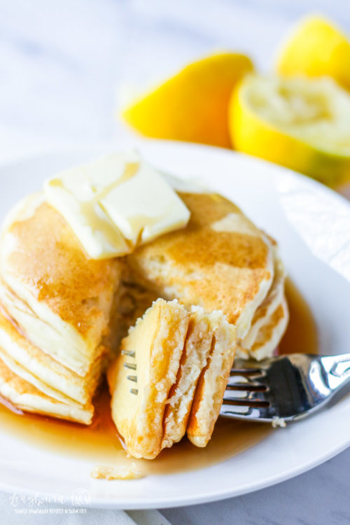 Forkful of lemon ricotta pancakes resting on a plate with lemon ricotta pancakes.
