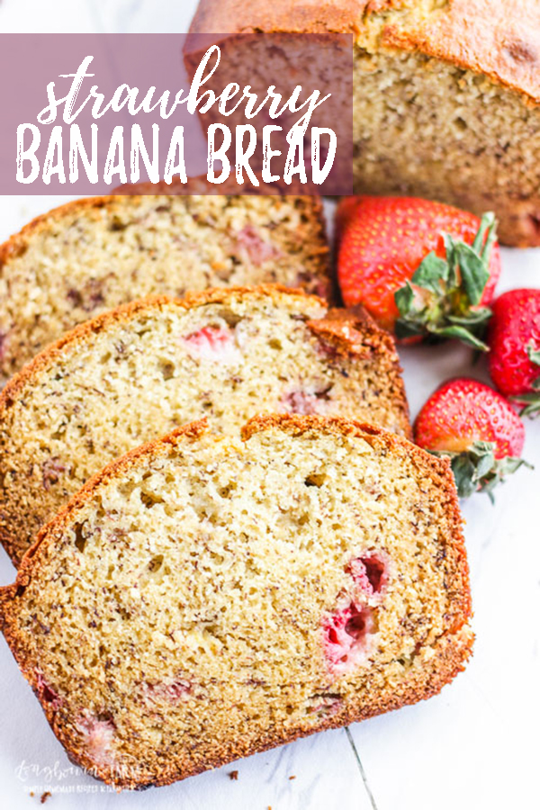 Strawberry banana bread that is moist, flavorful and turns out every single time! Smooth texture with small chunks of strawberries, this strawberry banana bread will be a family favorite for sure. #bread #dessert #dessertbread #strawberry #banana #bananabread #strawberrybread #strawberrybananabread #quickbread #easybread #quickdessert #easydessert