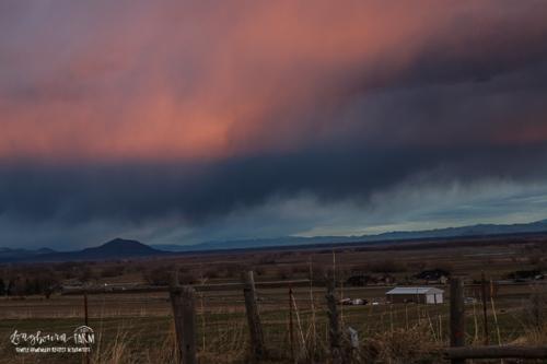 Sunrise over a cloudy sky in Northern Utah.