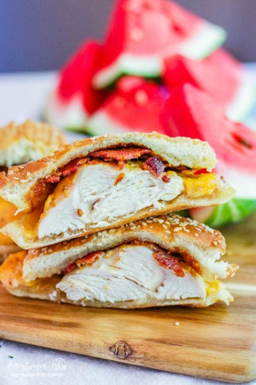 Chicken bacon sandwich cut in half.