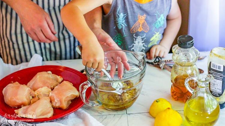 Mixing the chicken bacon recipe marinade.