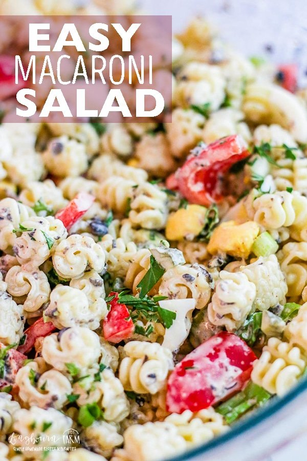 This macaroni salad recipe is a family favorite. It's easy to make and customize to your own tastes! This simple and flavorful macaroni salad is a summer classic. #longbournfarm #macaroni #pasta #pastasalad #macaronisalad #summersalad #coldpastasalad #pastasaladrecipe #macaronisaladrecipe #easypastasalad #easymacaronisalad via @longbournfarm
