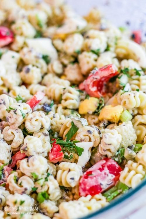 Close-up of easy macaroni salad recipe.
