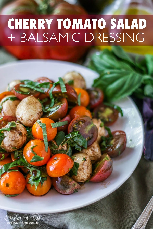 This easy cherry tomato salad recipe is the perfect way to use fresh cherry tomatoes from the garden! Ready in minutes, it's a great snack or side dish.#longbournfarm #cherrytomato #tomatosalad #freshtomatoes #gardentomatoes #gardening #cherrytomatosalad #balsamicdressing #balsamictomatoes #balsamicsalad #balsamicvinaigrette #vinaigrette #tomatoesandbalsamic #mozzarella #mozzarellapearls #mozzarellaballs