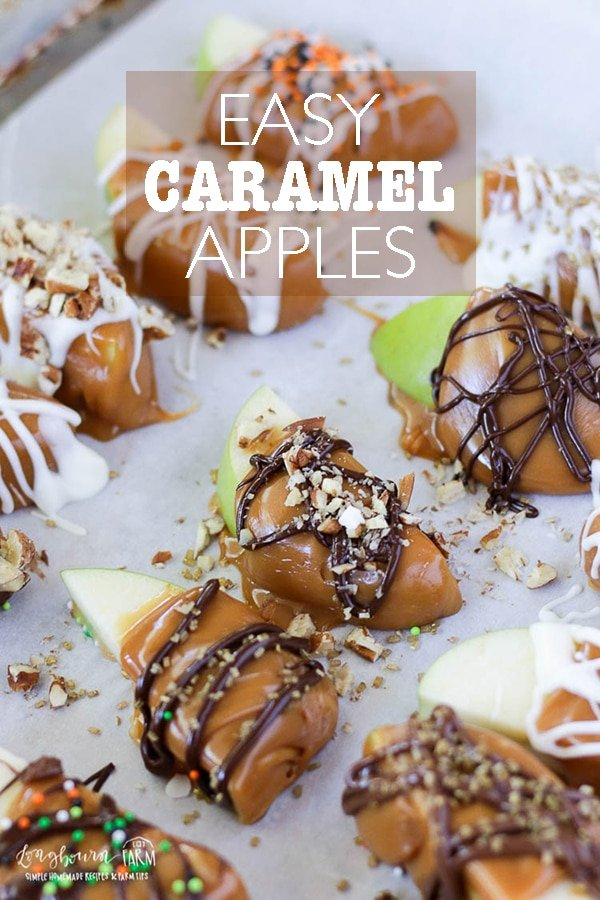 These adorable caramel apple slices are easy to eat and fun for the whole family to make! Crisp apples, chewy caramel, and festive toppings! Perfect easy Halloween treats to make with the kids. Wonderful Fall gift for neighbors. #longbournfarm #caramelapples #caramelappleslices #appletreat #kidtreat #halloweentreat #easyhalloweentreat #easycaramelapples #halloweenparty via @longbournfarm