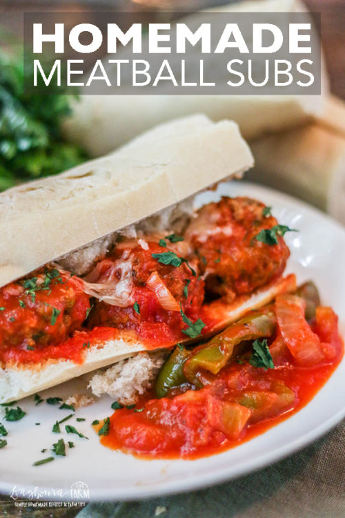 This meatball sub recipe is so easy and can be made in the slow cooker. It's a family favorite and easy to make for a crowd! #meatballsub #meatball #homemademeatball #longbournfarm #meatballsandwich #meatballs #homemademeal #homecooked