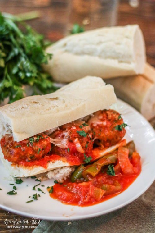 Meatball sub recipe on a white plate.