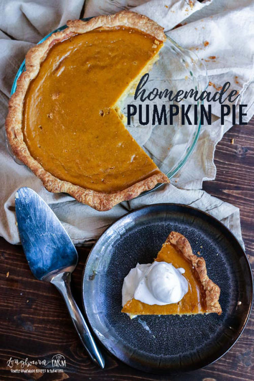 Learn how to make homemade pumpkin pie that tastes amazing and turns out every time. Step-by-step instructions, pictures, and a video! #pumpkinpierecipe #homemadepumpkinpie #homemadepumpkinpierecipe #homemadepumpkinpiecrust #holidaypierecipes #holidaypies