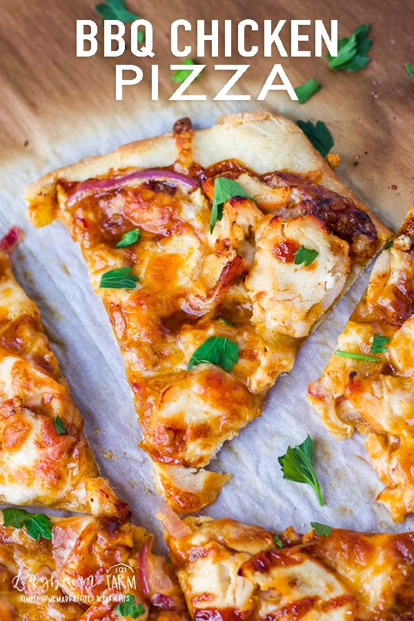 BBQ chicken pizza is easy to make and a delicious way to switch up traditional pizza. Use homemade pizza dough that you can freeze to make it a quick meal! #bbqchicken #bbqchickenpizza #bbqchickenpizzarecipe #bbqchickenpizza easy #bbqchickenpizzahomemade via @longbournfarm