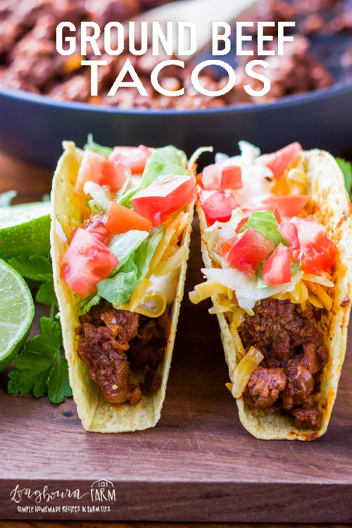 Ground beef tacos are super easy and delicious! This cooking method gives flavorful, tender, homemade taco meat in minutes. #groundbeeftacos #groundbeeftacomeat #groundbeeftacorecipe #tacomeat #tacomeatrecipes #tacomeatbeef