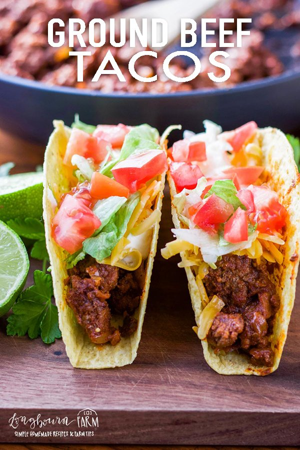 Ground beef tacos are super easy and delicious! This cooking method gives flavorful, tender, homemade taco meat in minutes. #groundbeeftacos #groundbeeftacomeat #groundbeeftacorecipe #tacomeat #tacomeatrecipes #tacomeatbeef via @longbournfarm