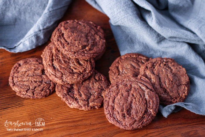 Homemade brownie cookies are super easy to make {no box required!}, chewy, soft, and the perfect chocolate fix! Easy to make in one bowl without a mixer. #browniecookierecipe #browniecookies #browniecookiescocopowder #homemadebrowniecookies #fromscratchbrowniecookies #browniecookiesnoboxmix