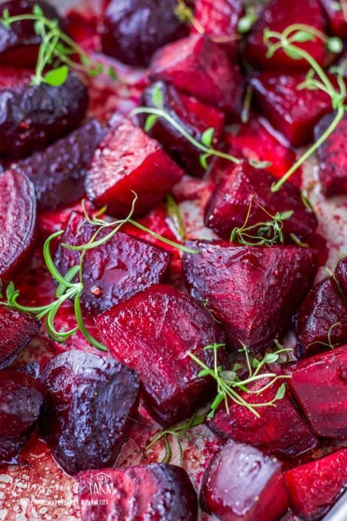 Oven roasted beets are incredibly easy to prepare and the whole family will love them! This simple recipe takes bland to delicious and everyone is a beet lover after they try it! #beet #beetrecipes #beetrecipe #beetroot #ovenroastedbeets #ovenroastedbeetssimple #ovenroastedbeetsrecipes #ovenroastedbeetshealthy