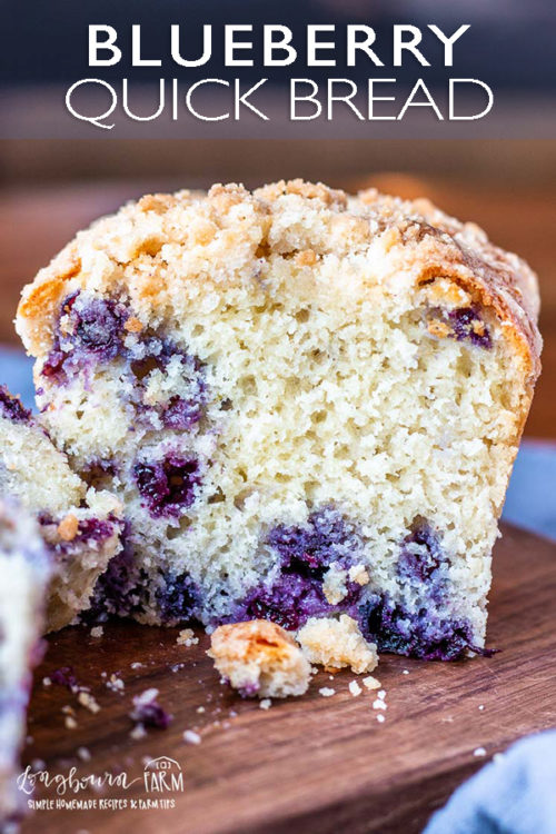 This blueberry bread recipe is easy and delicious! The crumb topping is sweet and crunchy, perfect when paired with the soft and fluffy inside. #blueberrybread #blueberrybreadrecipe #blueberrybreadeasy #blueberryquickbread #blueberryquickbreadrecipe #blueberryquickbreadeasy #blueberrybreadmoist #blueberrybreadwithcrumbtopping
