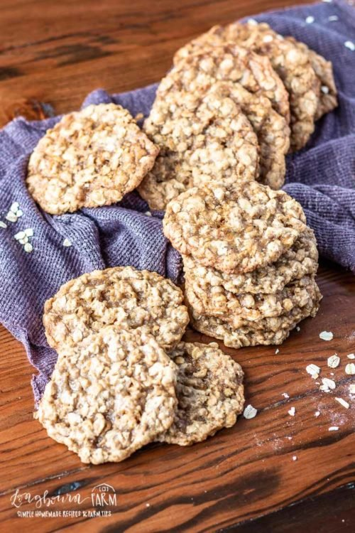 Pile of chewy homemade oatmeal cookies.