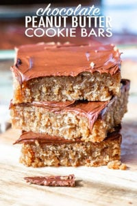 Chocolate peanut butter cookie bars are an easy way to get that peanut butter cookie taste with a lot less work! A delicious, quick, and easy dessert! #peanutbutterbars #peanutbutterbarseasy #peanutbutterbarsbaked #bakedpeanutbutterbars #peanutbuttercookiebars #peanutbuttercookies