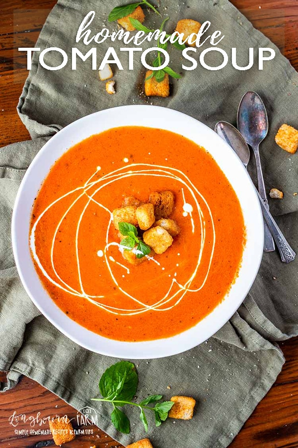 Homemade tomato soup is easy to throw together and is ready in 30 minutes. Use canned or fresh tomatoes, the flavor is perfect either way. #homemadetomatosoup #tomatosoup #homemadetomatosouprecipe #tomatosoupeasy #tomatosouphealthy #tomatosoupfreshtomatoes #tomatosouprecipe via @longbournfarm