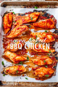 Oven baked BBQ chicken is a quick and filling dinner that the entire family will love! Use homemade or store bought sauce and have dinner ready quick! #ovenbakedchicken #bbqchicken #ovenbakedbbqchicken #bbqchicken #bbqchickeneasy #bbqchickenquick #bbqchickenfast #fastdinner #quickdinner #easydinnerrecipe