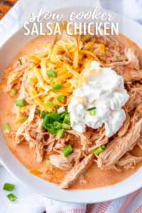 Crockpot salsa chicken is a 3-ingredient wonder meal that the whole family will love! Serve it in tacos, over rice, or bowl style. You can't go wrong! #salsachicken #easychickenrecipes #chickenrecipe #crockpotchickenrecipes #slowcookerchickenrecipes #slowcookersalsachicken #crockpotsalsachicken #salsachickenrecipe #salsachickeneasy #salsachickencreamy