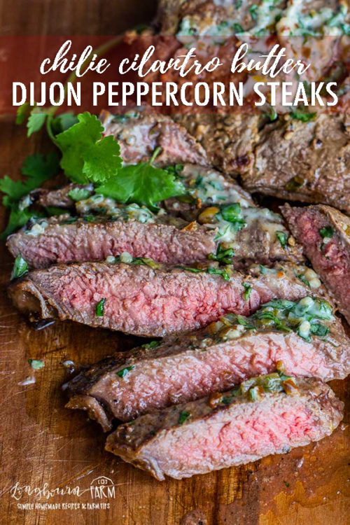 Whipping up these dijon peppercorn steaks couldn't be easier with the help of Chuck Knows Beef. These steaks are packed with flavor and an added punch of flavor from the chile cilantro butter! #peppercornsteak #peppercornsteakrub #peppercornsteakrecipe #peppercornsteakmarinade #steakrecipes #steakrecipesgrilled #dijonsteakmarinade #dijonsteakrecipe #dijonmustard