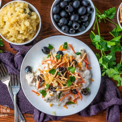 Hawaiian haystacks are a fun and delicious dinner your whole family will love! Tons of topping options over a creamy chicken sauce. #hawaiianhaystacks #hawaiianhaystackseasy #hawaiianhaystackssauce #hawaiianhaystacksbest #hawaiianhaystackstoppings #hawaiianhaystacksrecipe #hawaiianhaystacksgravy