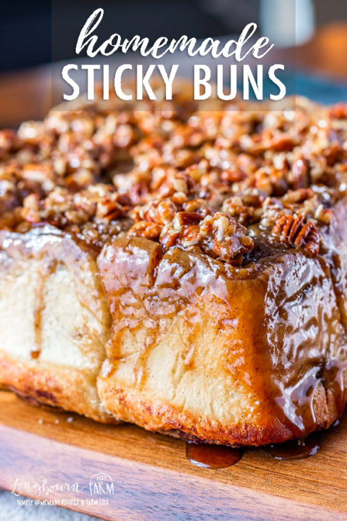 This sticky buns recipe simplifies the process while still giving you delicious results! Flaky and soft dough paired with a perfect gooey pecan topping. #stickybuns #stickybunsrecipe #stickybunrecipe #easystickybuns #cinnamonrolls #pecanstickybuns #stickybunsfromscratch #stickybunsgooey