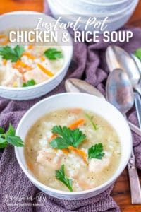 This chicken and rice soup recipe is such a quick and easy weeknight dinner that tastes amazing! Make it in an Instant Pot or on the stove-top. #chickenandricesoup #easychickenandricesoup #instantpotchickenandricesoup #instantpot #chickenandricesouphomemade #chickenandricesoupstovetop