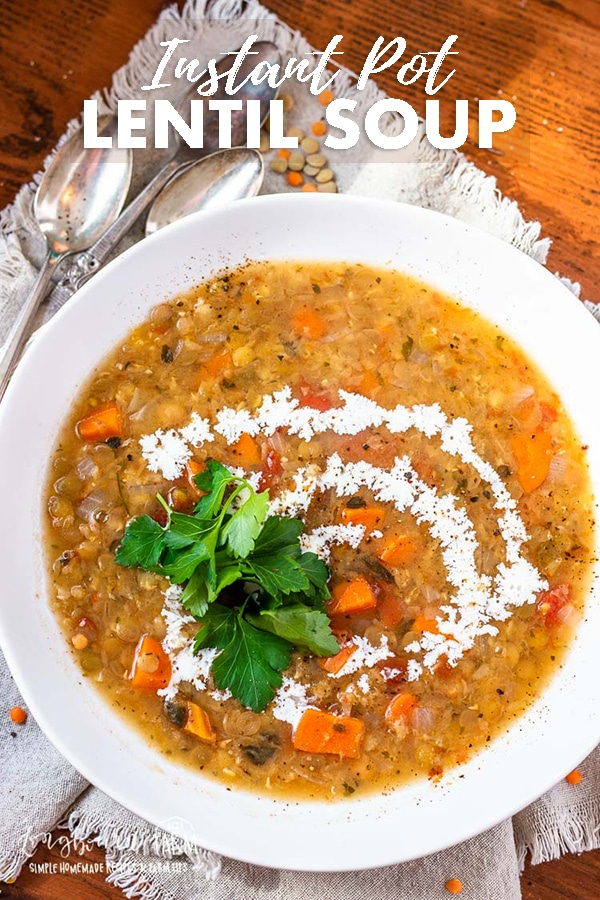 Lentil soup is hearty and delicious. Make it quickly in an instant pot or pressure cooker or use a slow cooker. Either way, it turns out amazing! #lentilsoup #lentilsoupeasy #lentilsoupcrockpot #lentilsoupslowcooker #lentilsoupinstantpot #lentilsouphealthy #lentilsoupred #lentilsoupvegetarian #lentilsoupvegetables #lentilsoupbest via @longbournfarm