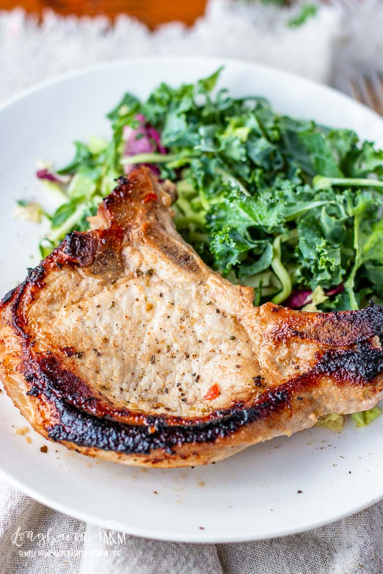 Marinated and cooked pork chop on a plate.