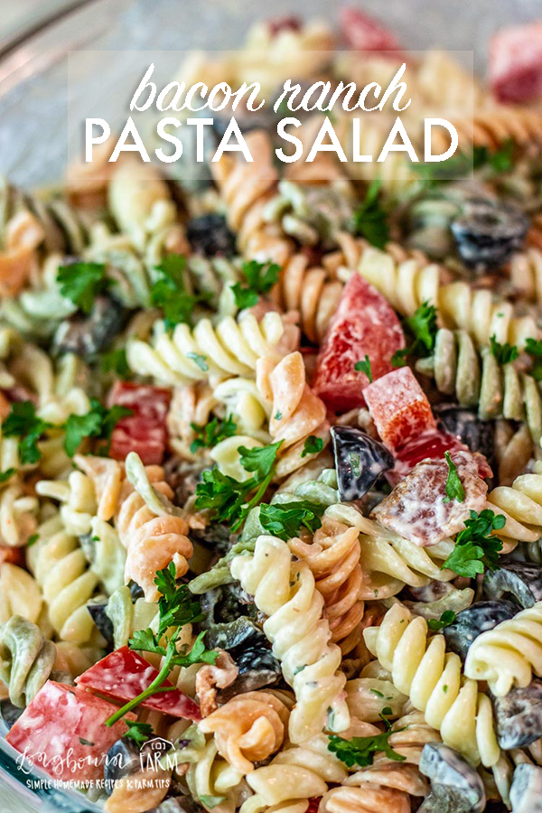 Bacon ranch pasta salad is easy to throw together! Use bottled rance or homemade for a quick side dish that's perfect for any summer meal. #pastasalad #pastasaladrecipe #pastasaladeasy #pastasaladcold #baconranchpastasalad #macaronisalad #macaroni #macaronipastasalad #gardenrotini