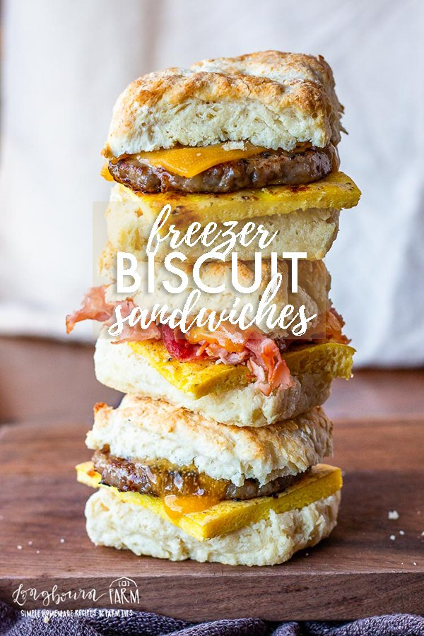 Biscuit breakfast sandwiches are so easy to make and prepare for the freezer! Make a bunch in advance to have an easy breakfast on the go. #biscuitbreakfastsandwich #biscuitbreakfastsandwichrecipe #biscuitbreakfastsandwichhoneyham #biscuitbreakfastsandwichfreezer #biscuitbreakfastsandwichbaconegg #biscuitbreakfastsandwiches via @longbournfarm