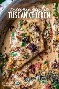 Creamy Tuscan chicken is easy to make and packed with flavor! Sun-dried tomatoes, basil, and a creamy sauce make this quick dish irresistible. #tuscanchicken #tuscanchickenskillet #tuscanchickeneasy #tuscanchickenrecipe #tuscanchickencreamy #tuscanchickensundriedtomatoes #tuscanchickenalfredo