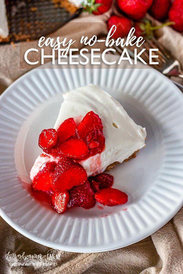 Easy no-bake cheesecake can be dressed up or down for any occasion and is perfect when you don't want to use the oven!! So delicious. #nobakecheesecake #nobakecheesecakerecipe #nobakecheesecakeeasy #nobakecheesecakecondensedmilk #nobakecheesecakebest #nobake #nobakedessert #dessertrecipe #easydessertrecipe #summerdessert #summerrecipe via @longbournfarm