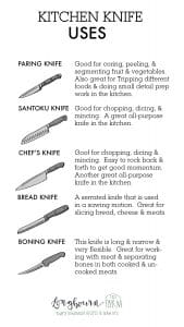 Learning the proper kitchen knife uses is important for quick work in the kitchen! It's also very important for keeping yourself safe while cooking. #kitchenknife #kitchenknifeuses #kitchenknifes