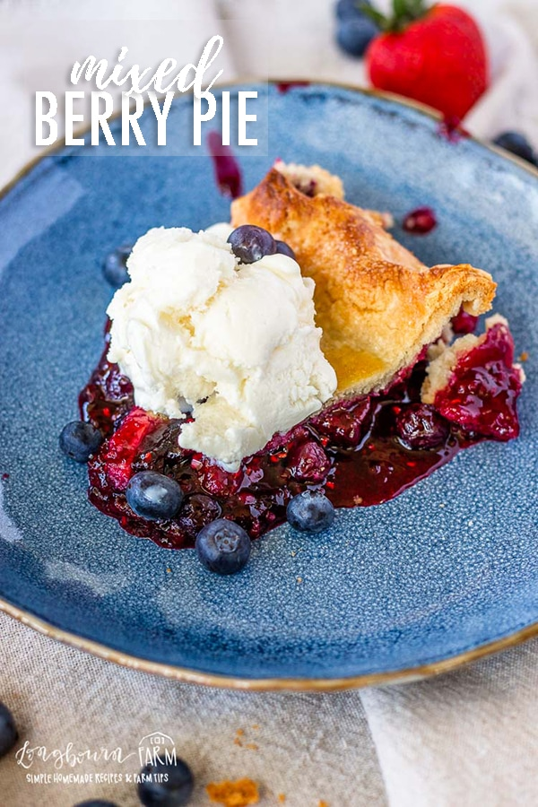 Homemade berry pie is a classic all year round no matter the occasion. It's a perfect balance of sweet and tart and packed with berry flavor! #tripleberrypie #mixedberrypie #easyberrypie #berrypiefilling #berrypierecipe #freshberrypie #bestberrypie #raspberrypie #blueberrypie #blackberrypie #strawberrypie #mixedberrypierecipe #easymixedberrypie via @longbournfarm