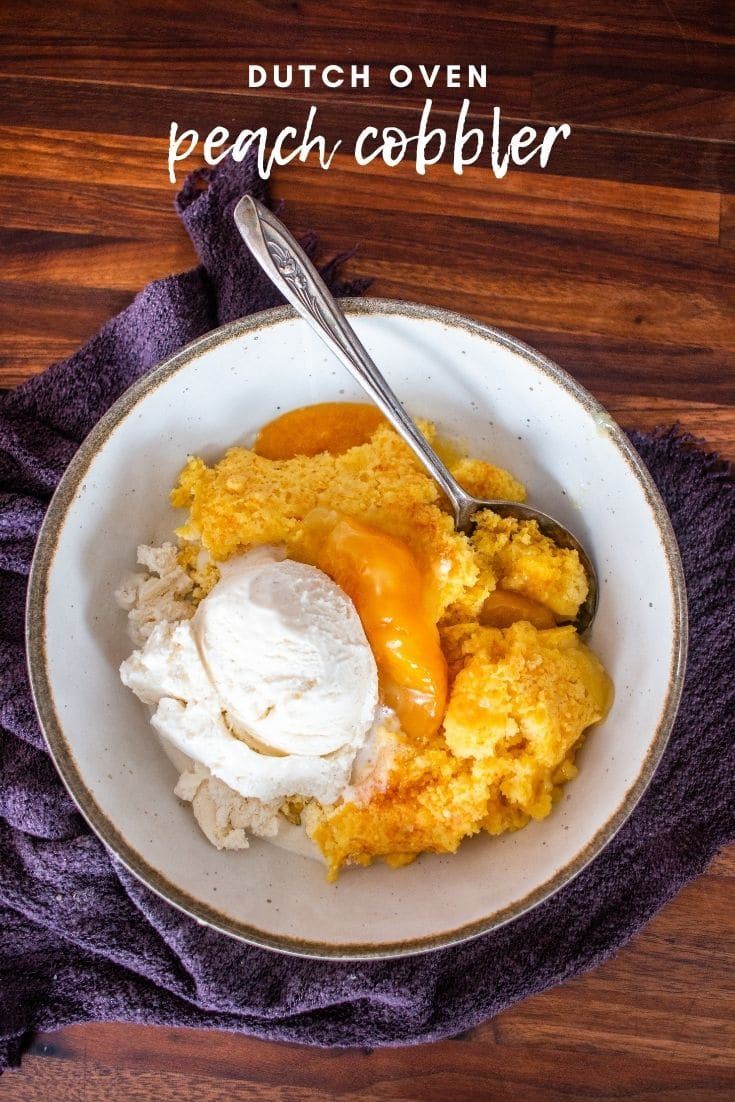 Dutch oven peach cobbler is so easy to make and a total crowd pleaser! Only three ingredients to make this amazing dessert.